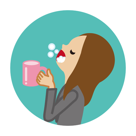 Businesswoman gargling with water for prevent cold - Circular icon Stock Vector - 117371467