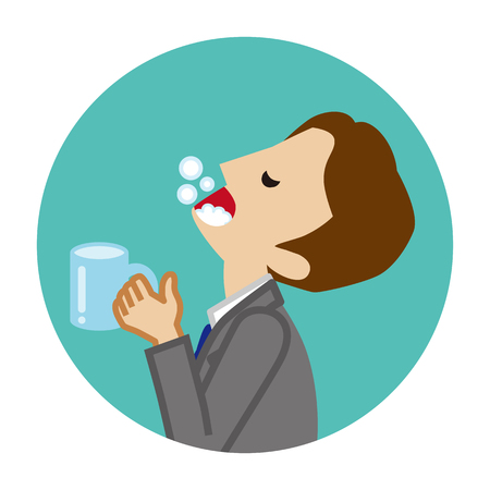 Businessman gargling with water for prevent cold - Circular icon