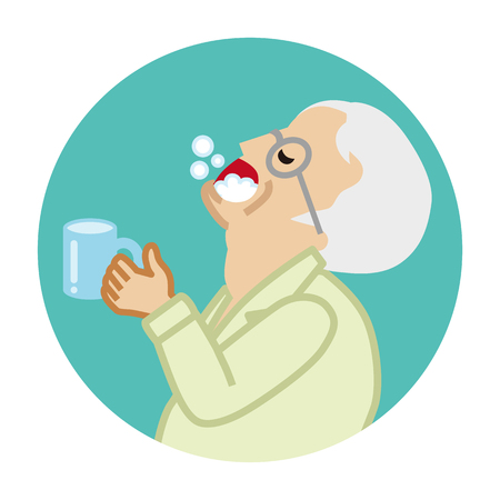 Senior man gargling with water for prevent cold - Circular icon Stock Vector - 117371471