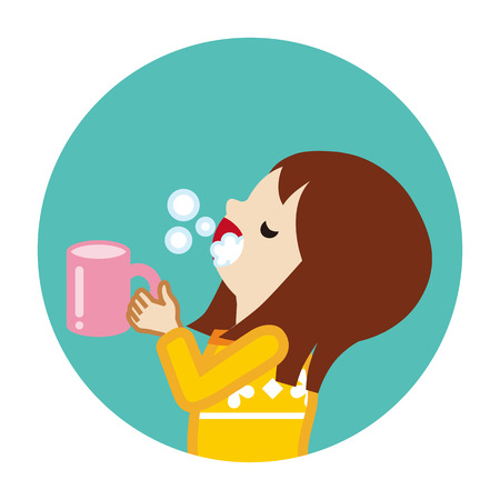 Toddler girl gargling with water for prevent cold - Circular icon