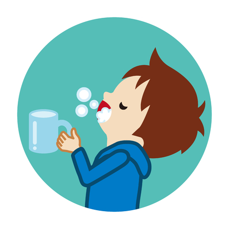 Toddler boy gargling with water for prevent cold - Circular icon