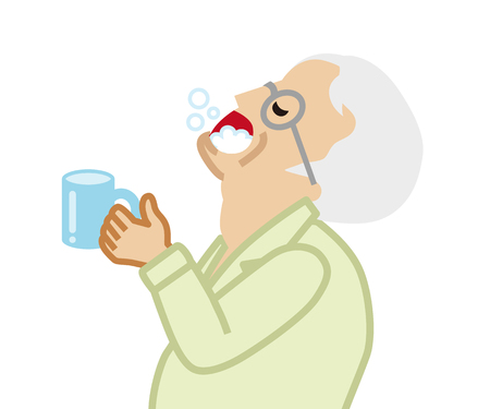 Senior man gargling with water for prevent cold Illustration