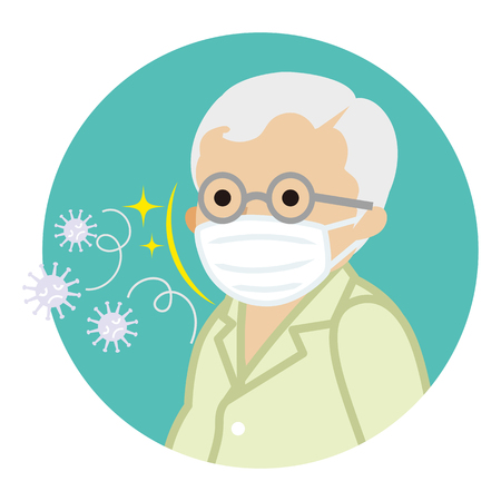 Senior man wearing a mask for prevent flu virus - Circular icon