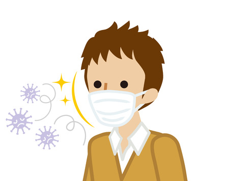 Male student wearing a mask for prevent flu virus
