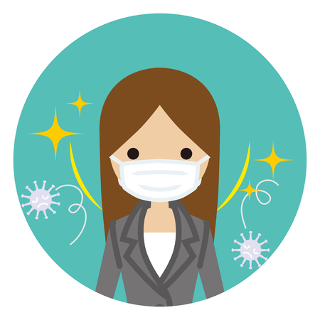 Businesswoman wearing a mask for prevent flu virus - front view, Circular icon