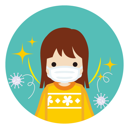 Toddler girl wearing a mask for prevent flu virus - front view, Circular icon