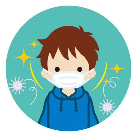 Ragazzo del bambino che indossa una maschera per prevenire il virus dell'influenza - vista frontale, icona circolare