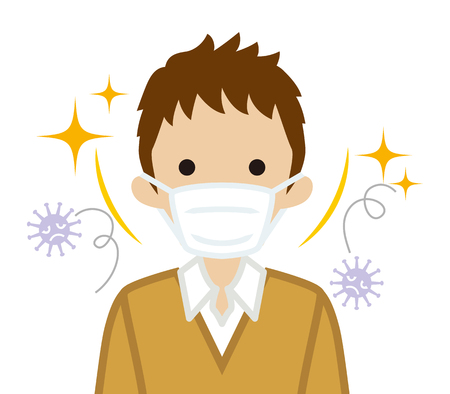 Male student wearing a mask for prevent flu virus - front view