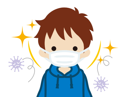 Toddler boy wearing a mask for prevent flu virus - front view