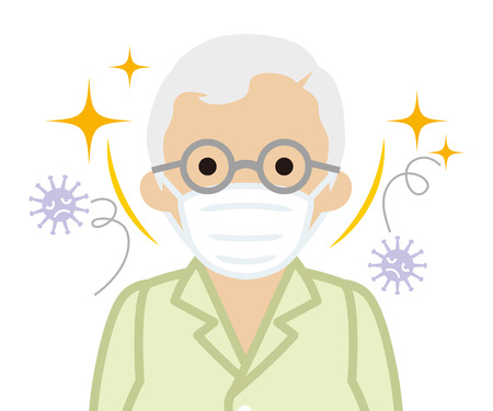 Senior man wearing a mask for prevent flu virus - front view