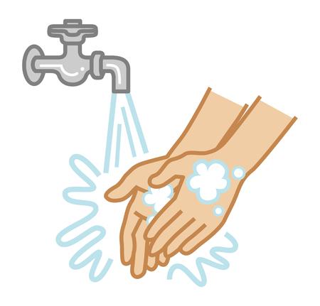 Concept art per il lavaggio delle mani - Stile cartone animato semplice
