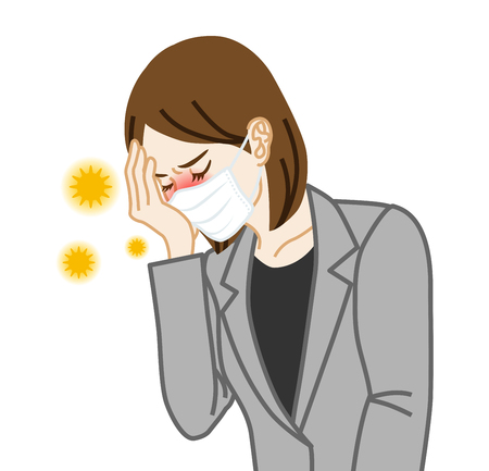 Businesswoman who wearing a mask suffering from hay fever Illustration