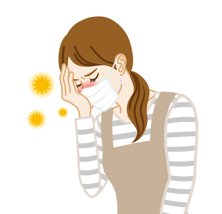 Housewife who wearing a mask suffering from hay fever