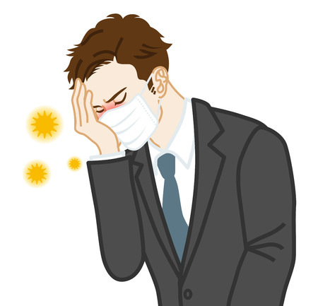 Businessman who wearing a mask suffering from hay fever Ilustração