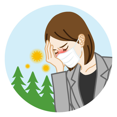 Businesswoman who wearing a mask suffering from hay fever - Circular clip art Ilustração