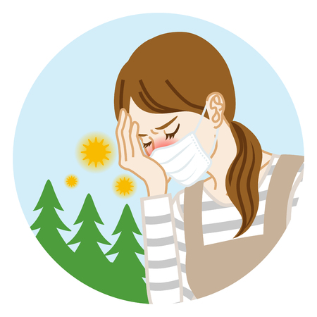Housewife who wearing a mask suffering from hay fever - Circular clip art Illustration