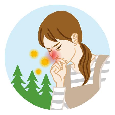 Femme au foyer souffrant du rhume des foins - Clipart circulaire Vecteurs