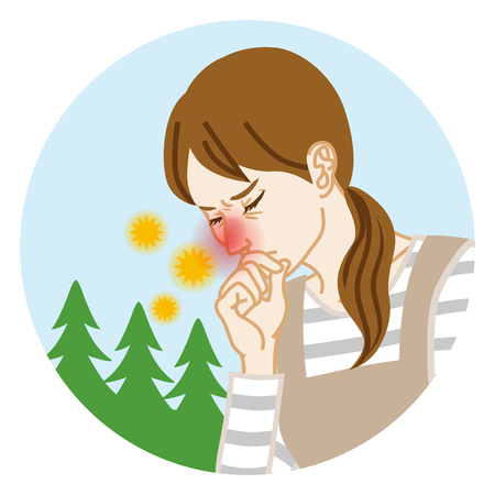 Housewife suffering from hay fever - Circular clip art