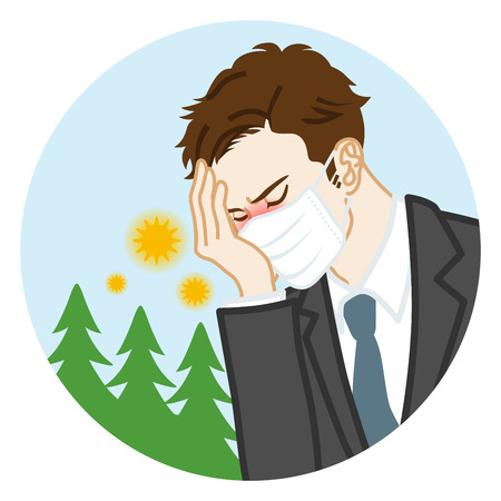 Businessman who wearing a mask suffering from hay fever - Circular clip art Illustration