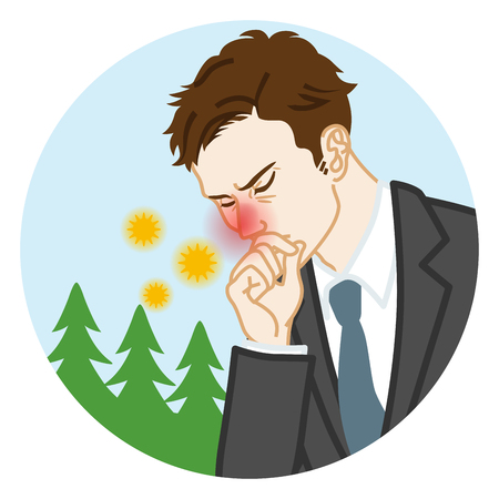 Businessman suffering from hay fever - Circular clip art Illustration