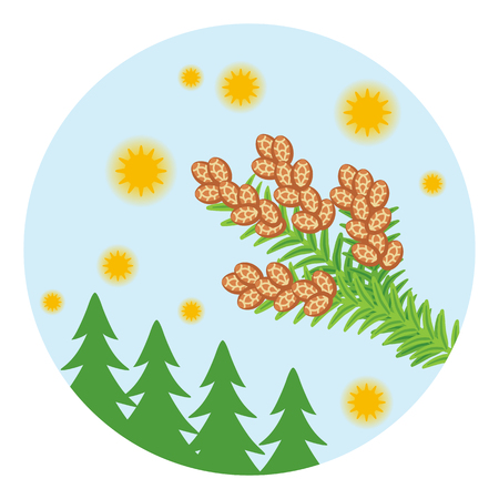 Cedar pollen and trees - Circular clip art