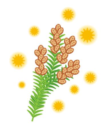 Cedar pollen clip art Stock Illustratie