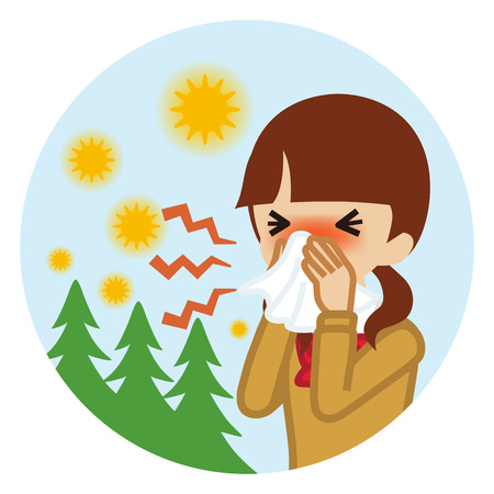Female student blowing nose with a tissue - Hay fever concept art