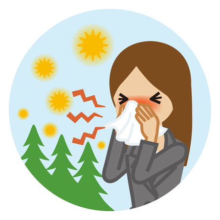 Businesswoman blowing nose with a tissue - Hay fever concept art
