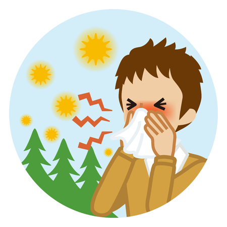 Male student blowing nose with a tissue - Hay fever concept art