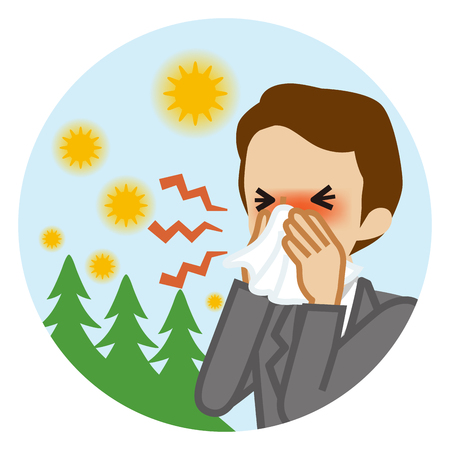 Businessman blowing nose with a tissue - Hay fever concept art