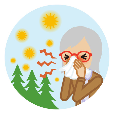 Senior woman blowing nose with a tissue - Hay fever concept art Illustration