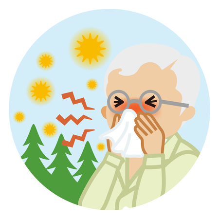 Senior man blowing nose with a tissue - Hay fever concept art