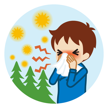 Toddler boy blowing nose with a tissue - Hay fever concept art