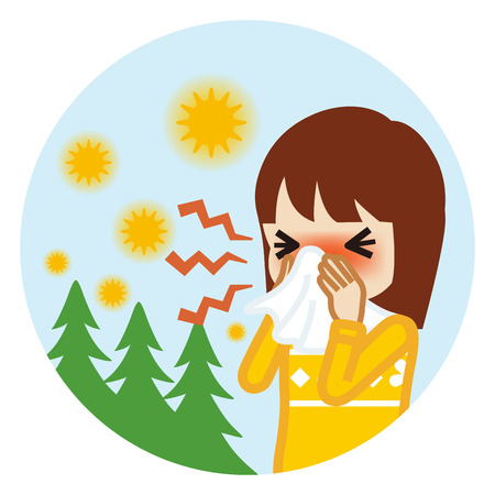 Toddler girl blowing nose with a tissue - Hay fever concept art