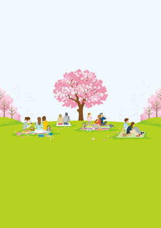 People picnic in spring nature - Vertical layout