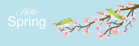 """Two small birds perch on cherry blossom branch, including words """"Hello Spring"""