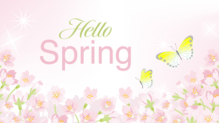 "Blooming Cherry blossoms background with Two Butterflies, including words ""Spring Fair"