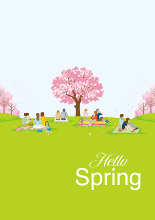 "People picnic in spring nature, including words ""Hello Spring"" - Vertical layout"