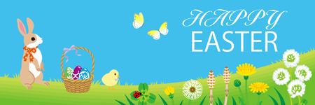 """Easter bunny and Chick enjoying the spring nature, Including greeting words """"HAPPY EASTER"""""""