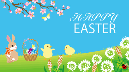 """Easter bunny and two chicks playing in the spring nature, Including greeting words """"HAPPY EASTER"""" Ilustracja"""