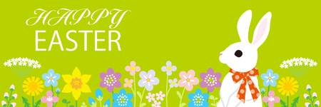 """Easter bunny in the spring flower bed -green color background, horizontal, Including greeting words """"HAPPY EASTER"""""""