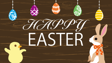 """Easter bunny with Chick in the easter eggs ornament background ,woody texture - Including greeting words """"HAPPY EASTER"""""""