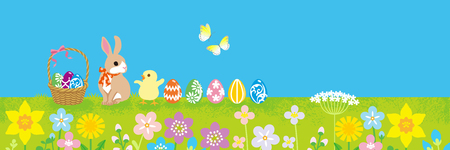Easter bunny and Chick playing in the spring nature - copy space layout design 일러스트