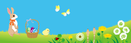 Easter bunny and Chick enjoying the spring nature - copy space layout design Illustration