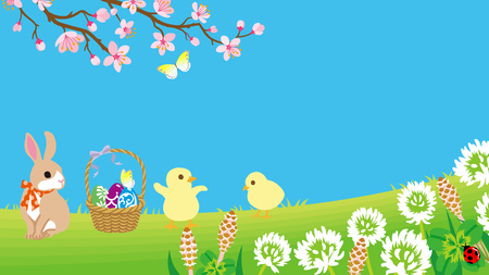 Easter bunny and two chicks playing in the spring nature, copy space layout design Ilustracja