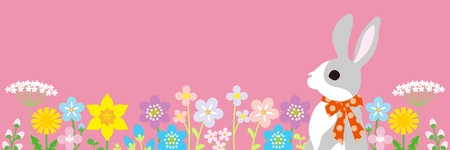 Easter bunny in the spring flower bed -pink color background, horizontal, copy space layout design