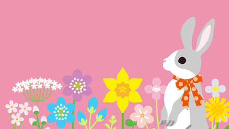 Easter bunny in the spring flower bed, pink color background - copy space layout design Ilustrace