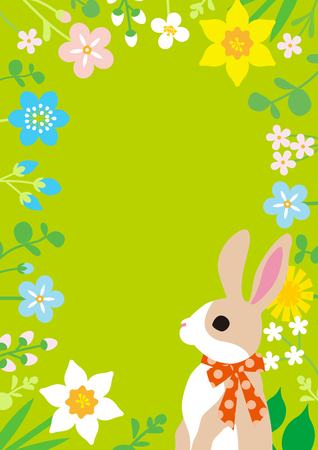 Easter bunny and spring wildflowers round frame background, green color - copy space layout design