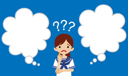 Japanese female high school student who has doubt something with two blank thought bubbles  イラスト・ベクター素材