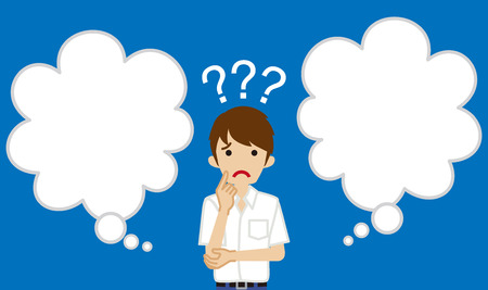 Japanese male high school student  who has doubt something with two blank thought bubbles  イラスト・ベクター素材